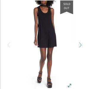 TOPSHOP Black choker tunic dress, sleeveless
